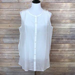 LOFT white button down sleeveless sheer tunic